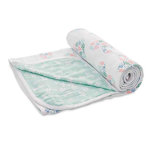 Aden by aden + anais Stroller Blanket, 100% Cotton Muslin, 2 Layer Lightweight and Breathable, 27.5 x 27.5 inch, Briar Rose - Floral Heart