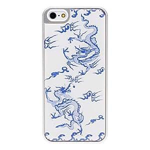 Procesamiento de dos días -Caso vívida epoxi doble dragones patrón duro con marco de plata para el iphone 5/5s
