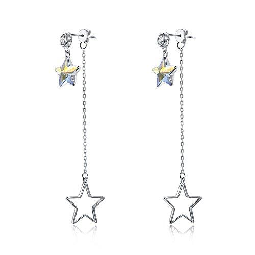 (BEMI Elegant Swarovski Crystal Star Drop Earring 925 Sterling Silver Long Chain Dangle Earrings for Girls)