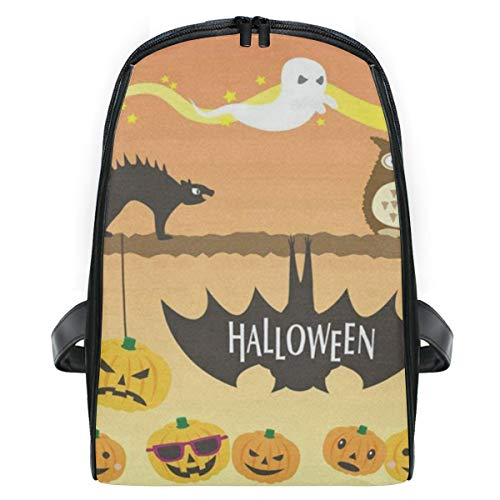 Kid's Backpack Happy Halloween Orange Pumpkin Face Personalized Shoulders Bag Classic Lightweight Daypack for Girls/Boys]()