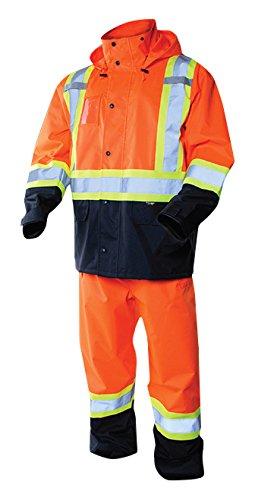 Terra 116520ORM High-Visibility Reflective Safety Rain suit, Orange, Medium