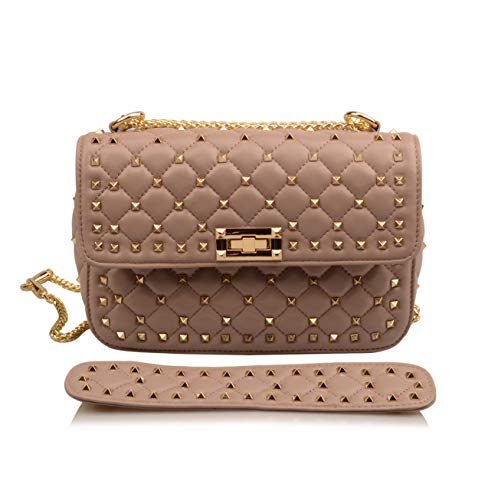 JENJEE women's genuine leather studded shoulder handbags hobo bags wallet puse (Taupe)