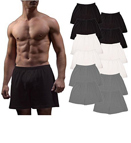 Cotton Jersey Boxers - Andrew Scott Men's 12 Pack King Size Big Man Cotton Knit Sleep Boxer Shorts (12 Pack- Black/White/Gray, Large)