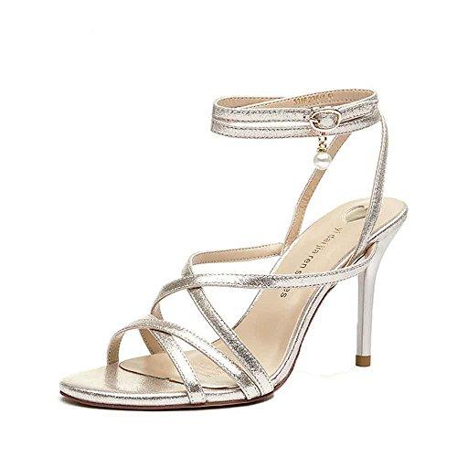 Tanpell Women's Preal Open Toe High Heel Sandals Ankle Cross Strap Wedding Party Shoes Golden7.5 (Golden Cross Chart)