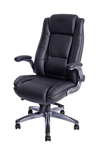 Kadirya High Back Leather Office Chair - Executive Computer Desk Chair Adjustable Angle Recline Locking System and Flip Up Arms, Thick Padding For Comfort and Ergonomic Design For Lumbar Support
