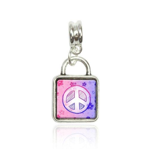 Peace Sign Flowers Pink Purple Euro European Italian Style Bracelet Bead Sqr Charm