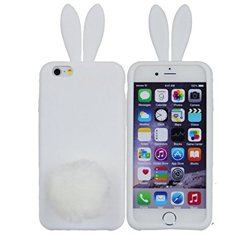 iPhone 6 Plus Case,Cute Lovely Long Ear Design Rabbit with Furry Tail Silicone Bunny Case Cover for Apple iPhone 6 Plus 5.5 inch (White)