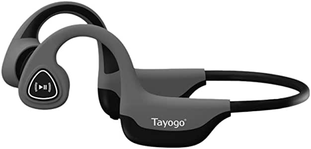 Tayogo S2 Bone Conduction Bluetooth Headphone Open-Ear Wireless Headset HiFi Stereo with Mic Waterproof Sports Abs Earphone for Android iOS Grey