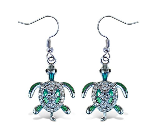 Puzzled Green Sea Turtle Fish Hook Earrings, 1.5 Inch Fashionable & Elegant Jewelry Rhinestone Studded Earring For Casual Formal Attire Ocean Marine Life Themed Girls Teens Women Fashion Ear ()
