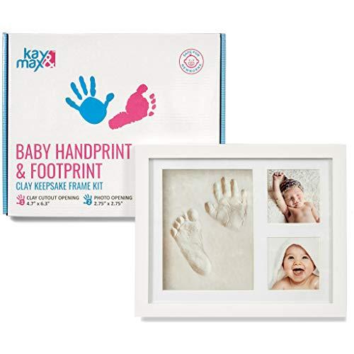 (Baby Handprint & Footprint Kit by Kay&Max - Premium No Mold and Non Toxic Clay - Keepsake Wood Picture Frame Box - Memory Photo Ornament Set - for Newborn Boy)
