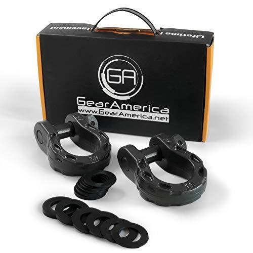 (GearAmerica Mega Duty D Ring Shackles Gray (2 PK) | 68000 lbs (34 US Ton) Strength | 3/4