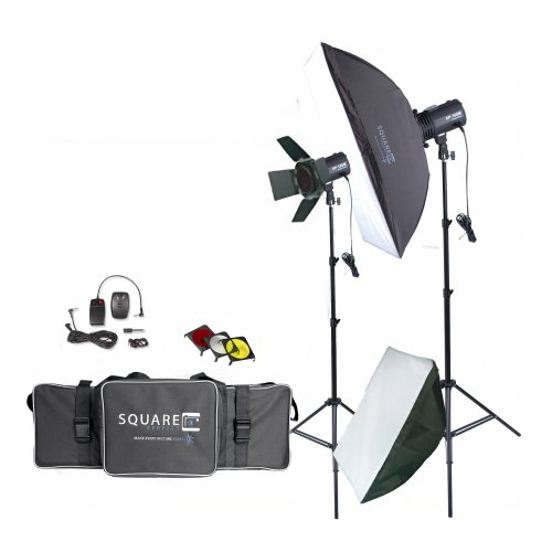 Square Perfect 1002 Sp160 Variable Power Professional Studio Flash Set Photography Studio Kit with Photo Lighting Strobes Stands by SQUARE PERFECT