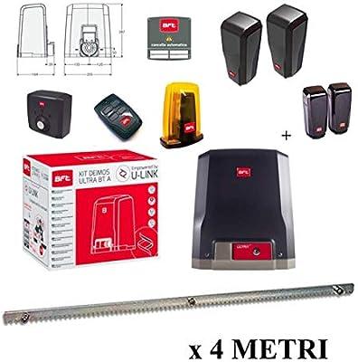 BFT Promo Deimos Ultra BT - Kit A600 motorizador, puertas correderas 24 V, hasta 600 kg, R925268 00002 + 1 fotocélulas Desme A15 de regalo + cremallera Hiltron con pernos incluidos: Amazon.es: Bricolaje y herramientas