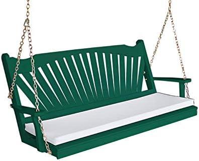 Aspen Tree Green Porch Swing 5 Fanback Solid Wood Hanging Swings Swinging Bench