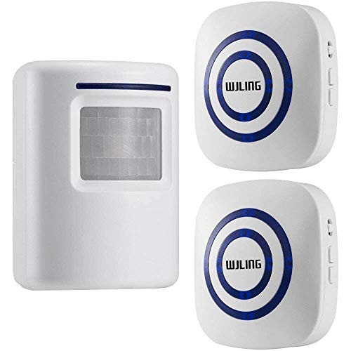 WJLING Motion Sensor Alarm, Wireless Driveway Alert, Home Security System Alarm 1 Sensor 2 Receiver -38 Chime Tunes - LED Indicators