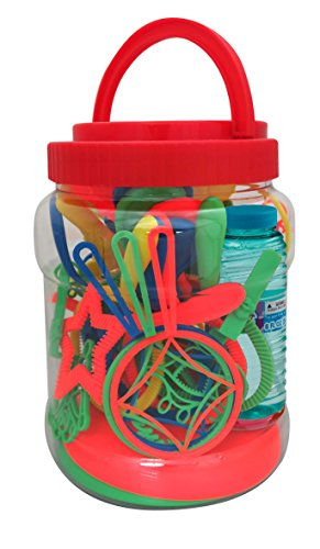 PROUDLY PRESENTS BY RAINBOW BUBBLES. 35 in 1 Bubble Play Set, Value Pack, with Wands, 8 oz., Rainbow Bubbles ()