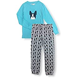 Aegean Apparel Boston Terrier Printed Kids PJ Set, Turquoise, Polyester Jersey Knit (S (4-6))