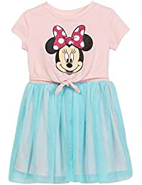 Minnie Mouse Disney Front Tie Girls Youth Pink Dress