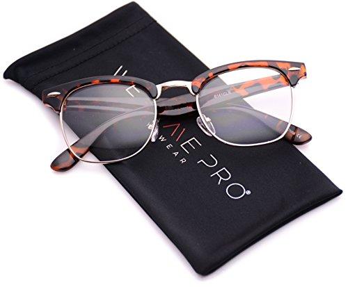 Glasses Frames Mens - Vintage Inspired Classic Half Frame Clubmaster Horn Rimmed Clear Lens Glasses (Thick Tortoise, 44)