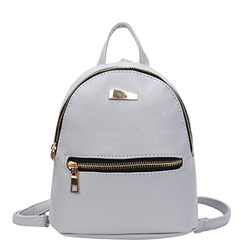Travel Mini Leather ZHANGVIP Shoulder Bag Backpack pack Gray College Satchel Women Tiny School Rucksack qqx4wa6BZ
