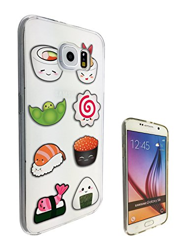 c0299 - Cool Cute fun sushi doodle maki california roll food lover kawaii Design Samsung Galaxy Note 5 Fashion Trend CASE Gel Rubber Silicone All Edges Protection Case Cover