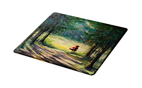 (Ambesonne Fantasy Cutting Board, Watercolor Ancient Traditional Story Illustration Girl with Red Dress Brush Strokes, Decorative Tempered Glass Cutting and Serving Board, Small Size, Multicolor)