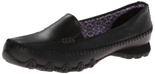 Skechers Women's Bikers Pedestrian Memory Foam Slip-On Moccasin,10 M US,Black Leather