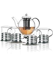 Leonardo Tea begränsat set med 6/1 tekanna + 4 teglas + värmare + 4 dekorativa avdelningsunderlägg