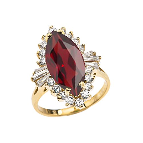 4 Carat January Birthstone Red Ballerina 10k Yellow Gold Ring (Size 9) - Ballerina Gold Ring
