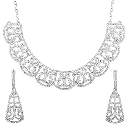 Touchstone New Fine Faux Jewelry Collection Indian Bollywood Desire Profoundly Crafted Filigree White Rhinestones Grand Bridal Designer Jewelry Necklace Set in Silver Tone for Women