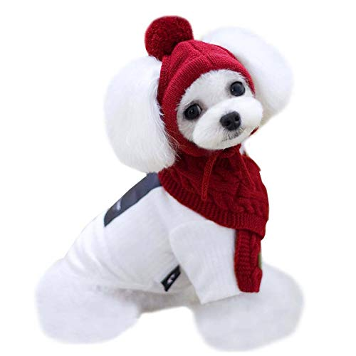 Vans Girls Outfit (Van Caro Knitted Doggie Scarf and Hat Set Puppy Dogs Cats Lovely Fall Winter Outfits)