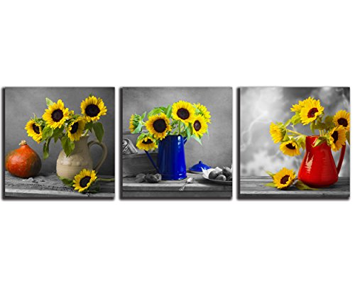 (NAN Wind 3pcs Modern Canvas Prints Black and White Theme Wall Decor Sunflowers Wall Art Sunflower Kitchen Decor Still Life Pictures on Canvas Stretched and Framed Ready to Hang for Home Decor)