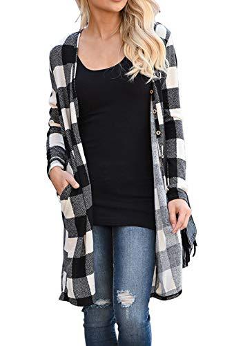 (LACOZY Women's Open Front Long Knit Cardigan Draped Snap Buffalo Plaid Shirt Kimono Cardigan Sweater Duster Black White Medium 8/10)