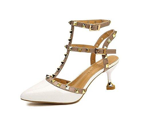 Mujer de Puntiagudo de QXH Zapatos Hebilla del la Cinturón Superficial Sandalias White Tacón de Boca wCYEzYq
