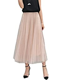 Chaoguang Womens Long Pleated Tulle Skirt A Line Elastic Waist Formal Wedding Party Midi Calf Skirts
