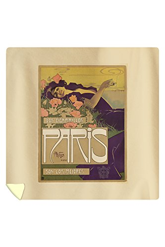 Cigarillos Paris Vintage Poster (artist: Villa) Spain c. 1901 (88x88 Queen Microfiber Duvet Cover) by Lantern Press