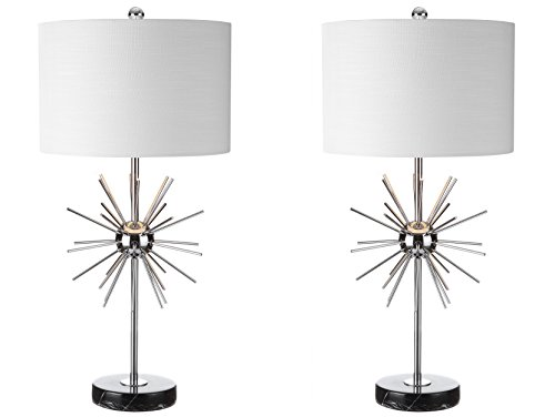JONATHAN Y JYL2011A-SET2 Aria 31.5″ Metal/Marble Table Lamp, Chrome (Set of 2), Chrome with White Shade 412WREytb0L