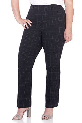 Rekucci Curvy Woman Ease in to Comfort Fit Barely Bootcut Plus Size Pant (18W,Navy Tartan)