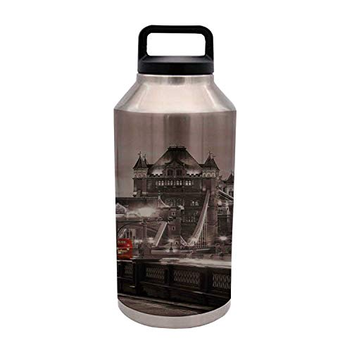 TecBillion Black and White Durable 64OZ Stainless Steel Bottle,London Theme Tower Bridge in The Famous City Urban Life Scenery Europe for Home Travel Office,4