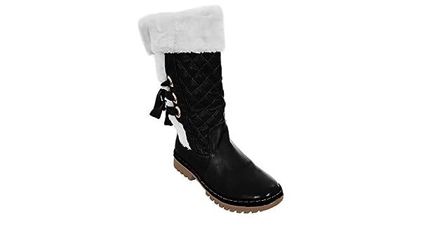 ZAFIRO BOUTIQUE Mujer Con Forro De Piel Artificial Plano Rodilla Pantorrilla Altas Se Atan Por Detrás Nieve Invierno Botas Planas - Negro, 8 UK / 41 EU