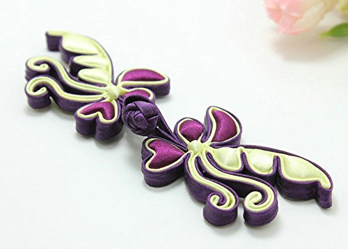 Lyracces Sewing Fasteners Fabric Cotton Satin Animal Exquisite Butterfly Braid Knit Chinese Knot Closure Cheongsam Frog Button 1pair (Darkpurple yellow (Yellow Butterfly Button)
