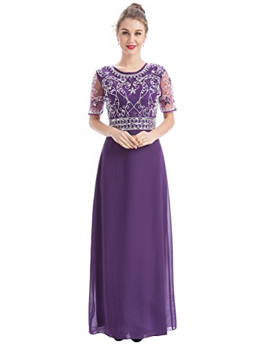 Chiffon Long Gown - MANER Women Chiffon Beaded Embroidered Sequin Long Gowns Prom Evening Bridesmaid Dress (XL, Dark Purple)