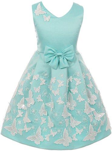 Big Girl Sleeveless 3D Butterfly Bow Easter Party Flower Girl Dress USA Aqua 10 JKS 2112