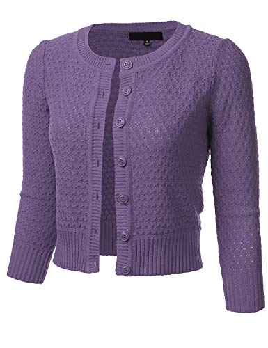 Women's Button Down 3/4 Sleeve Crew Neck Cotton Knit Cropped Cardigan Sweater Blueberry L