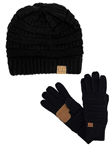 C.C Unisex Soft Stretch Cable Knit Beanie and Anti-Slip Touchscreen Gloves 2 Pc Set, Black