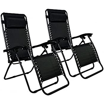 Zero Gravity Chairs Case Of (2) Black Lounge Patio Chairs Outdoor Yard  Beach (