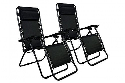 New Zero Gravity Chairs Case Of 2 Lounge Patio Chairs Outdoor Yard Beach O62/Black