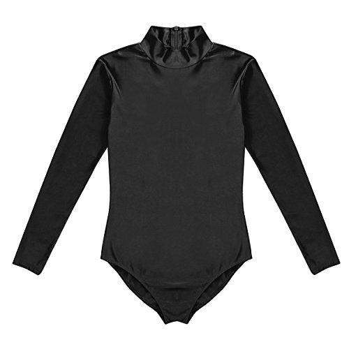 YiZYiF Men's Mock Neck Bodysuit Unitard Spandex Zentai Suits Costume Dancewear Black ()
