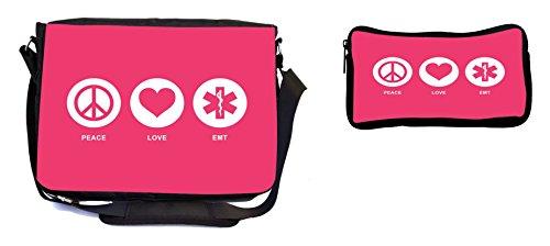 Rikki Knight Peace Love EMT Tropical Pink Color Design Multifunction Messenger Bag - School Bag - Laptop Bag - with Padded Insert for School or Work - Includes Pencil ()