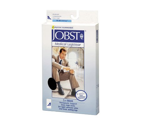 Jobst For Men Knee High 15-20mmHg Ribbed Closed Toe, L, Brown ()